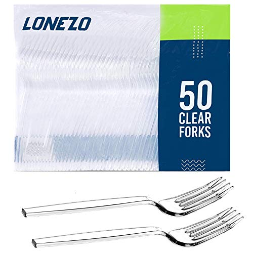 Lonezo [50 Count] – Heavy Duty Plastic Forks – Clear Plastic Cutlery and Silverware Set