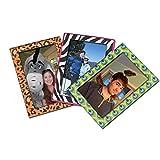 "25 Home Decor Set of 3 Animal Print Magnetic Frames - 4"" x 6"" Photo - Zebra, Peacock, and Cheetah"