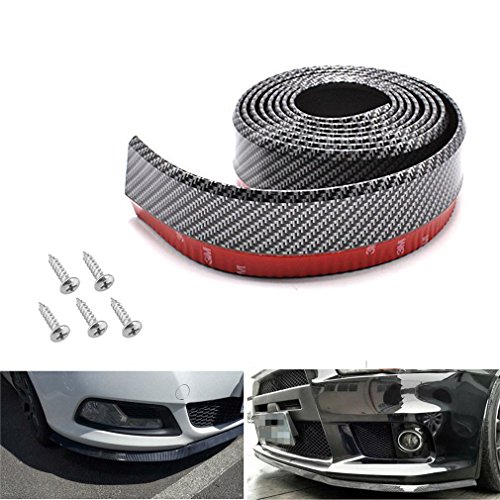 (Bigetaige Universal Front Bumper Spoiler, 8.2ft/250cm Universal Carbon Fiber Front Bumper Lip Strip Splitter Spoiler)