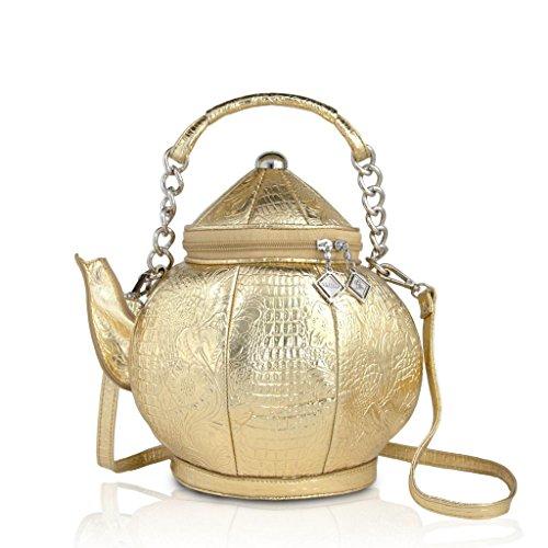 DARLING'S Teapot Fashion Design Handbag Shoulder Bag Gold