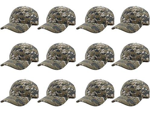 - Gelante Plain Blank Baseball Caps Adjustable Back Strap Wholesale LOT 001-DigitalCamo-12PC