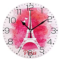 ZZAEO Watercolor Pris Eiffel Tower Pink Printed Round Acrylic Wall Clock Art Frameless Quiet Desk Clock for Kitchen Bedroom Living Room Classroom Home Decor