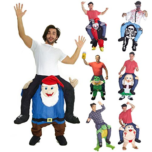 Morphsuits Men's Gnome Piggyback Costume Adult, Blue/Brown, One Size (7 Dwarfs Costume)