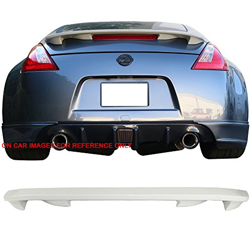 Pre-painted Trunk Spoiler Fits 2009-2018 Nissan 370Z | OE Style #QAB White Pearl ABS Rear Wing Other Color Available by IKON MOTORSPORTS | 2010 2011 2012 2013 2014 2015 2016 (Coupe Oe Style Spoiler)
