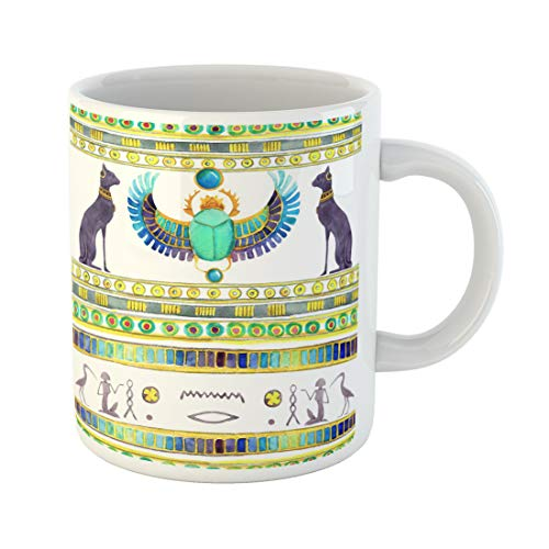 Emvency Funny Coffee Mug Ancient Egyptian Cats and Scarab Beetle with Wings and of Egypt Watercolor 11 Oz Ceramic Coffee Mug Tea Cup Best Gift Or Souvenir]()