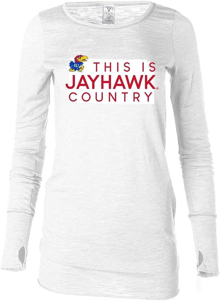 Venley NCAA Kansas Jayhawks KSCNTRY Womens Long Sleeve Thumbhole Tee