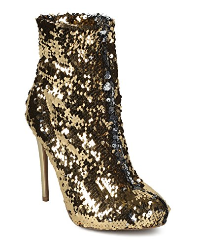 Gold Sequin Boots (Alrisco Women Reversible Sequin Ankle Boot - Almond Toe Stiletto Bootie - Holiday Special Occasion Party Trendy Dressy Ankle Bootie - HE32 By Wild Diva Collection - Gold (Size: 9.0))