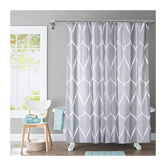 JRing Shower Curtain Polyester Fabric Machine Washable with 12 Hooks 72x72 Inch - The curtain is made by 100% premium polyester fabric with 12 plastic hooks, along with 12 rust resistant metal grommets, which measures 72*72 Inch JRing shower curtain are extremely durable polyester fabric made,On the other hand, our smooth texture curtain will last long for using. Metal Grommets: JRing bathroom curtain contains metal grommets along its reinforced top header, as well as hooks,it is convenient for decorating and using soon once received. - shower-curtains, bathroom-linens, bathroom - 51JlaMCOXDL. SS570  -