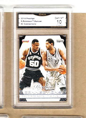 Tim Duncan/David Robinson- 2014 Prestige Connections Card-#2-Spurs-Graded-10/10