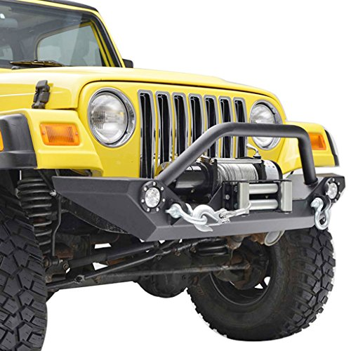 Yj Rock (Paramount Restyling 51-0034L Black Front Heavy Duty Rock Crawler Bumper with LED (Jeep Wrangler YJ/TJ))