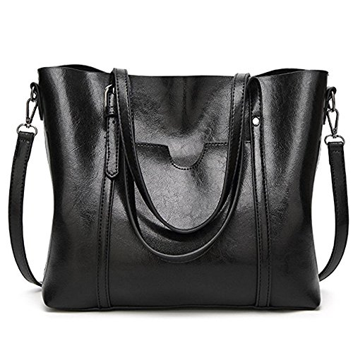 Women Bag Casual Vintage Shoulder Bag Handbags Cross Body Bag Large Capacity Bags Black JUNDUN