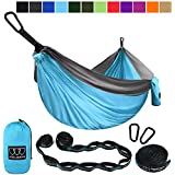 Gold Armour Camping Hammock - Extra Large Double Parachute Hammock (2 Tree Straps 32 Loops,20 ft Included) USA Brand Lightweight Nylon Mens Womens Kids, Camping Accessories Gear
