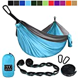 Gold Armour Camping Hammock - Extra Large Double Parachute Hammock (2 Tree Straps 16 Loops/10 ft Included) USA Brand Lightweight Portable Mens Womens Kids, Camping Accessories Gear (Sky Blue/Gray)