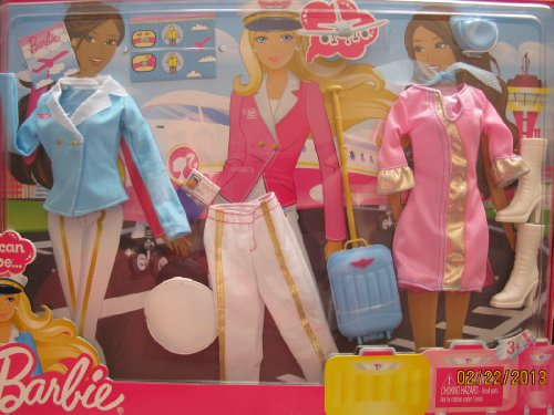 BARBIE I Can Be AIRLINE CAREER FASHIONS w PILOT, FLIGHT ATTENDANT & STEWARDESS OUTFITS & Accessories (2010)