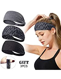 Women Men Sport Workout Headband Non Slip Lightweight Soft Wicking Stretchy Multi Style Bandana Head Wrap Ideal for Yoga/Pilates/Dancing/Running/Cycling/Fitness Exercise/Travel