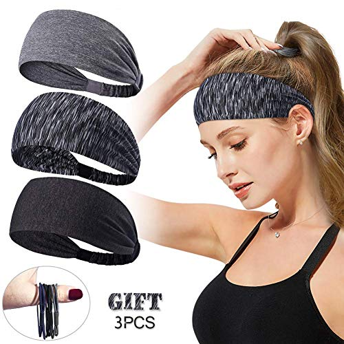 (Women Men Sport Workout Headband Non Slip Lightweight Soft Wicking Stretchy Multi Style Bandana Head Wrap Ideal for Yoga/Pilates/Dancing/Running/Cycling/Fitness Exercise/Travel (Style 1 (3 Pcs)) )