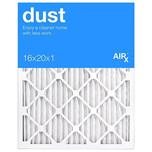 AiRx DUST 16x20x1 Air Filters for Dust Control - Box of 6 - Pleated 16x20x1 MERV 8 Air Filters, AC Filters, Furnace Filter - Energy Efficient