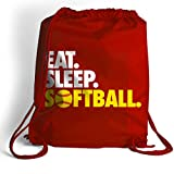 Eat. Sleep. Softball. Cinch Sack | Softball Bags by ChalkTalk SPORTS | Red