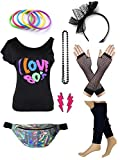Womens 80s Accessories Set I Love The 80's T-Shirt with Neon Fanny Packs (L, Black)