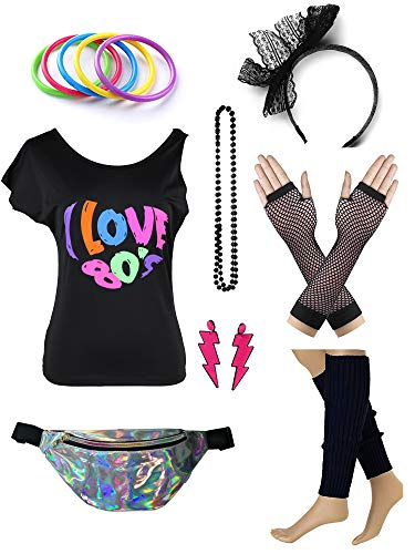 Womens 80s Accessories Set I Love The 80's T-Shirt with Neon Fanny Packs (XL, Black)