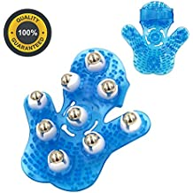 Glove Massager Palm Shaped Hand Massage Manual 9 360-degree-roller Mental Roller Ball Blue by Outton