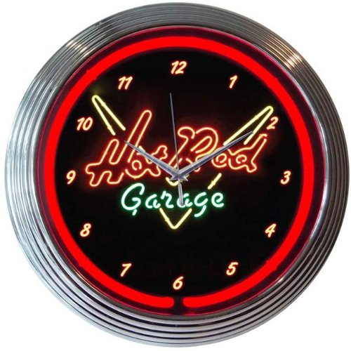 Hot Rod Garage Neon Clock