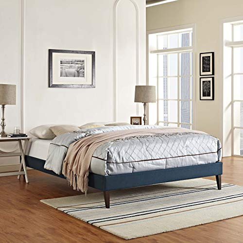 Modway MOD-5899-AZU Tessie Fabric Bed Frame with Squared Tapered Legs, Queen, Azure (Floor Slatted)