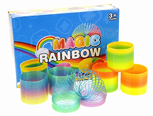 PowerTRC Magic Rainbow Classic Novelty Colorful Springs Assorted Bulk Toy for Birthday Party Favors, Gift (12 Pack)