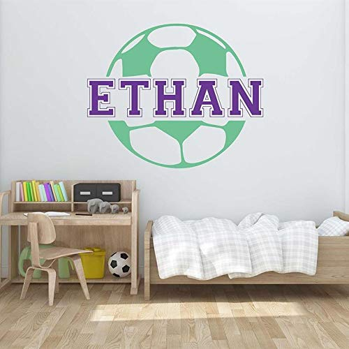 BYRON HOYLE Customized Football Kids Name Wall Decal - Name Wall Sticker Customized Football Wall Decal Nursery Vinyl Lettering Children Name #708C