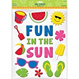 Sun-Sational Summer Luau Party ''Fun in the Sun'' and Summer Essentials Gel Cling Sticker Decoration, Rubber, 15'' x 12'' (Pkg. Size)