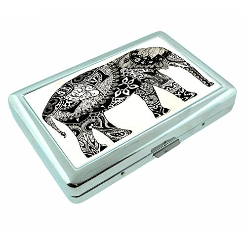 - Elephant Art Design S39 Silver Cigarette Case Metal Wallet Id Holder 4