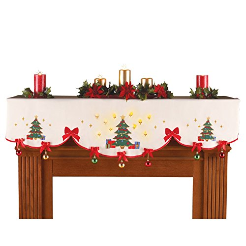 Lighted Christmas Ornament Mantel Scarf (Mantel Christmas)