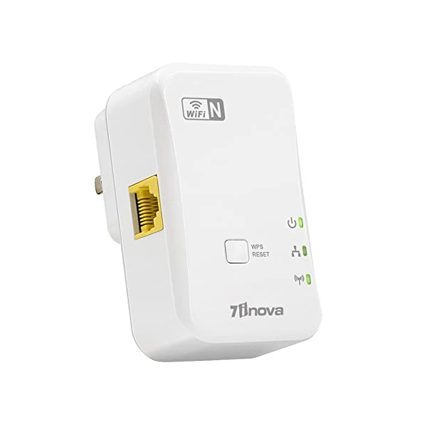 7INOVA N300 WiFi Range Extender/Repeater/Booster with Ethernet Port-Home Internet Wall Plug