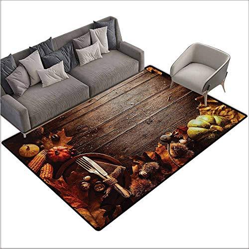 "Floor Entrance Rug Thanksgiving,Special Family Dinner 36""x 60"",Super Cozy Bathroom Rug Carpet"