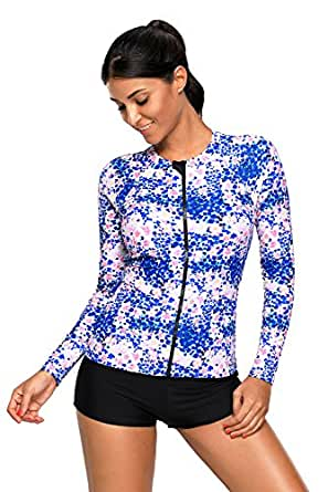 SherryDC Women's Zip Front Tropical Printed Long Sleeve Rash Guard Shirt Swimming Surfing Athletic Top (Us 12-14)L Blue