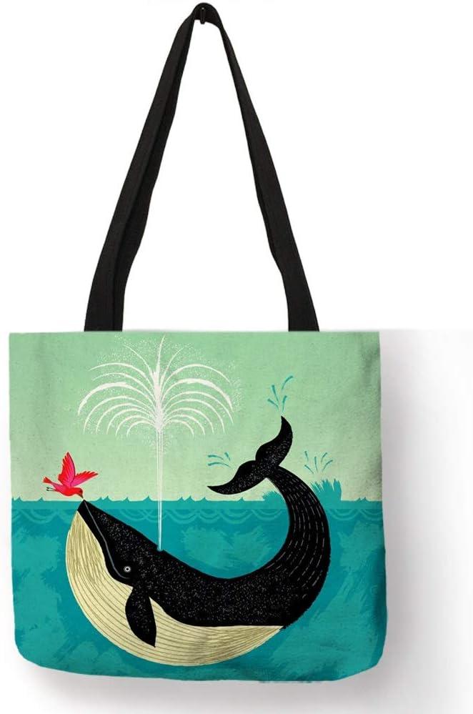 NEW Cute Whale Print Pullstring Canvas Bag UK Seller