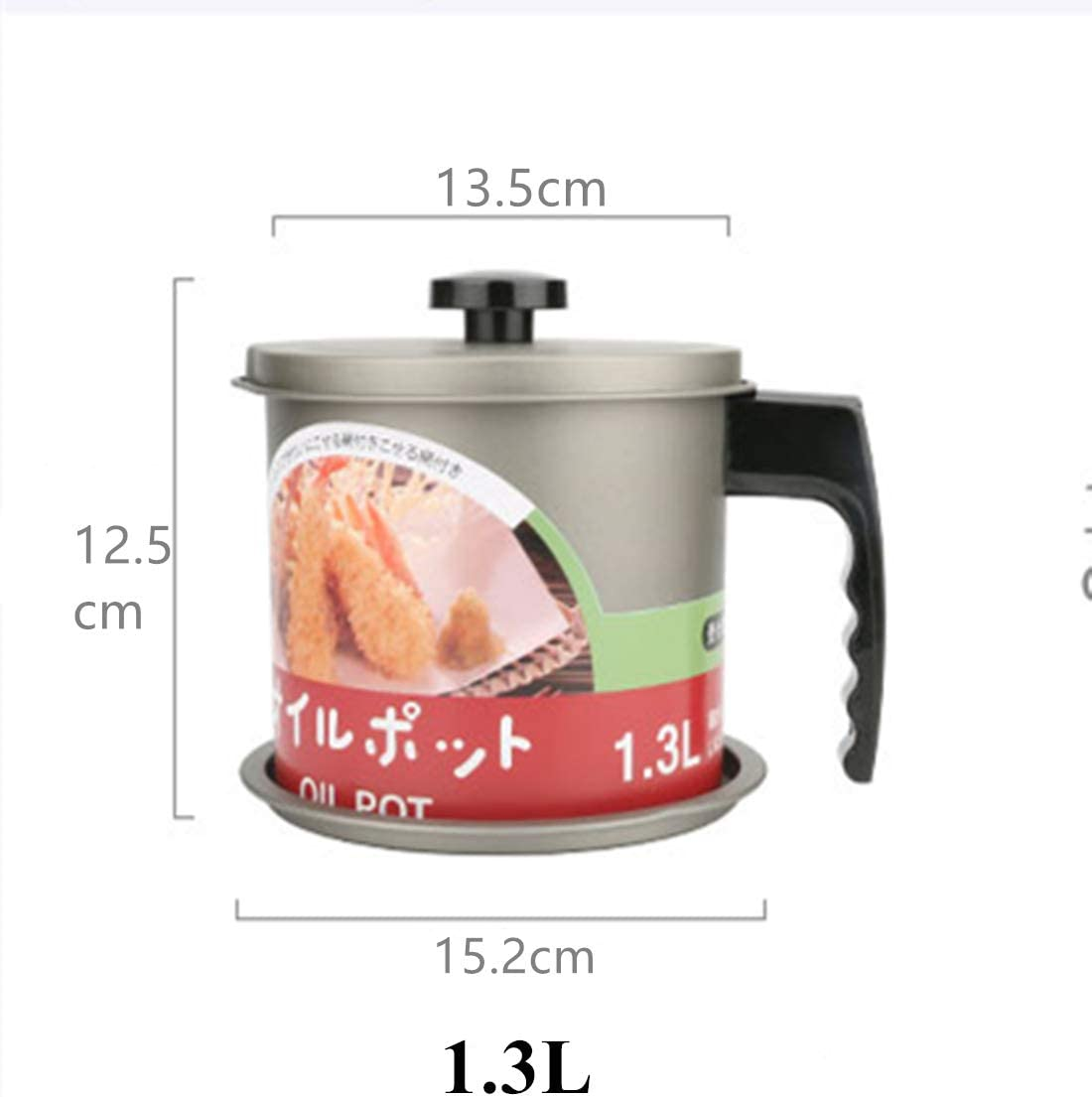 1.6L Cooking Oil Storage Grease Keeper, Grease Oil Strainer Container Pot with Filter for Deep Fryer Grey-1.3l