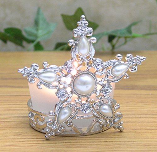 (BANBERRY DESIGNS Star Candle Holder Jeweled Silver Metal Filigree and Frosted Glass)