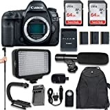 Canon EOS 5D Mark IV Full Frame Digital SLR Camera (Body Only) + 120 LED Video Light + Large Monopod + 128GB Memory + Shotgun Microphone + Camera & Flash Grip Handle Stabilizer
