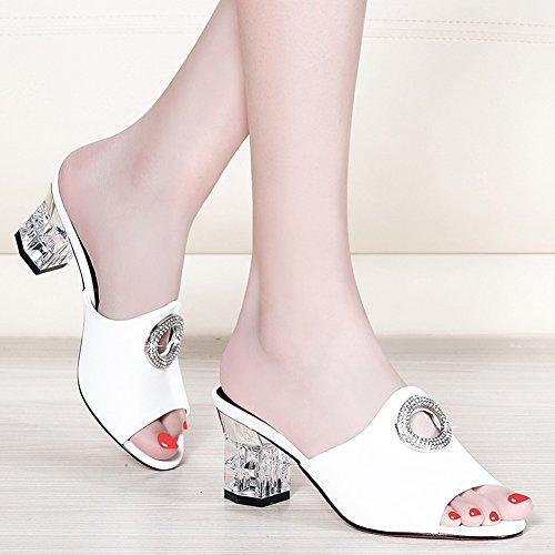 Colores Femenino Rhinestone uk3 2 De 5 Zapato 6 black 1 Grueso 1 Zapatillas Del Cm 2 Lixiong Talón Tacón Moda Verano 225 Tamaño color Altura cn35 white zapatos 5 Eu35 qntSTw5I