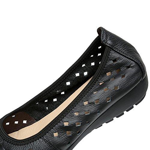 Rismart Mujer Hueco Comodidad Ponerse Espacio De Trabajo Inteligente Cuero Mocasines Zapatos Negro