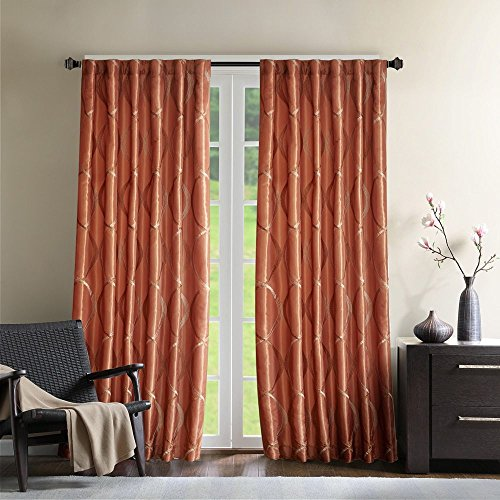 1 Piece Girls 95 Inch Spice Embroidered Oggi Curtain Single Panel, Tangerine Color Drapes Damask Pattern Window Treatments, Stylish Casual Kids Themed Ikat Vertical Lines Design Polyester Stripe