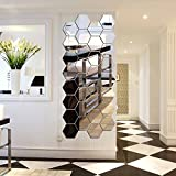 #3: Hexagon Mirror, H2MTOOL 12 PCS 9cm Removable Acrylic Mirror Wall Stickers for Home Living Room Bedroom Decor (9cm, Silver)