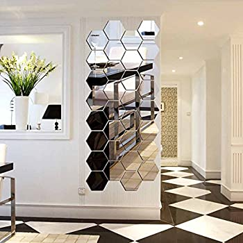 12pcs 3d Fashion Hexagon Acrylic Mirror Effect Wall Stickers Hexagon