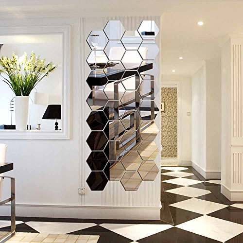 Hexagon Mirror, H2MTOOL 12 PCS 9cm Removable Acrylic Mirror Wall Stickers for Home Living Room Bedroom Decor (9cm, Silver) (Wall Art)