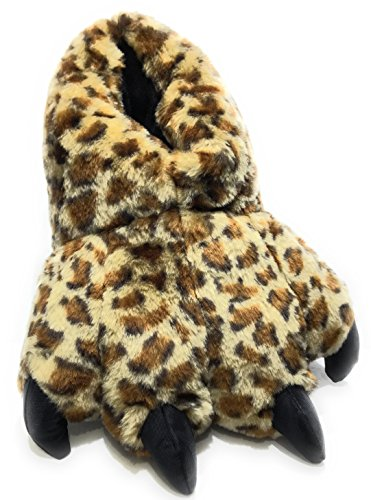 Animal Claws - Wild Ones Furry Animal Claw Slippers for Toddlers, Kids and Adults (Large Womens 9 ½ to 12 and Mens 8 ½ to 14, Leopard)