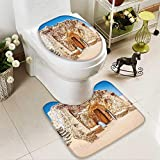 SOCOMIMI 2 Piece Toilet Cover Set Abandoned Sets The Movie in Tunisia Desert Phantom Galaxy Wars Themed 3D Digital Printing Rug Set