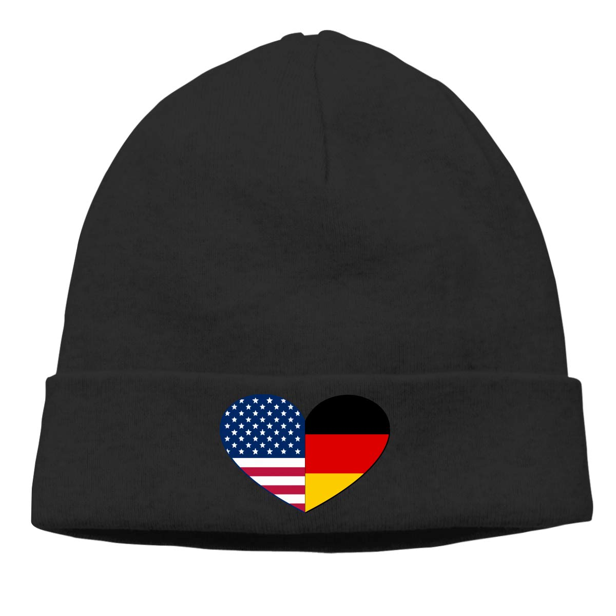 Thin Stretchy /& Soft Winter Cap German and American Flags Heart Men /& Women Solid Color Beanie Hat