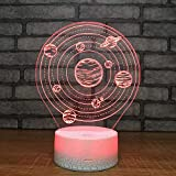 FSEWFS Planetary Systseven 3D Night Light Led 3D Touch USB Table Lamp Holiday Adult Children's Gift Bedroom Can Be Used for Grand Festivals7 Color Change Light