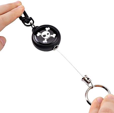 Portachiavi Avvolgibile per Bobina edc 60cm Portachiavi per Catena con Corda dAcciaio e Clip per attivit/à AllAperto